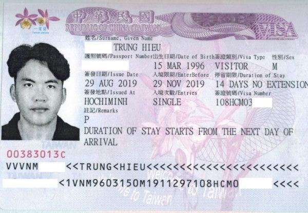 xin visa Đài Loan du lịch dán